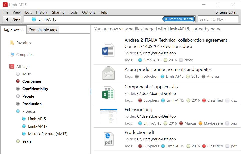 Markiere jede Datei und Email