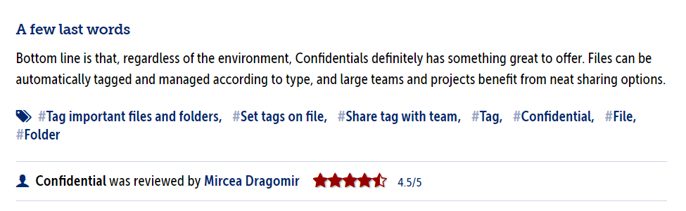 First review: 4,5 stars on Softpedia
