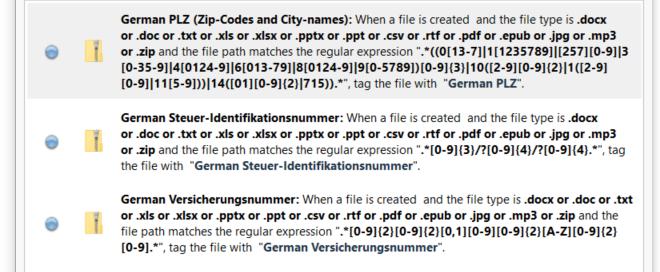 Data mine sensitive information German